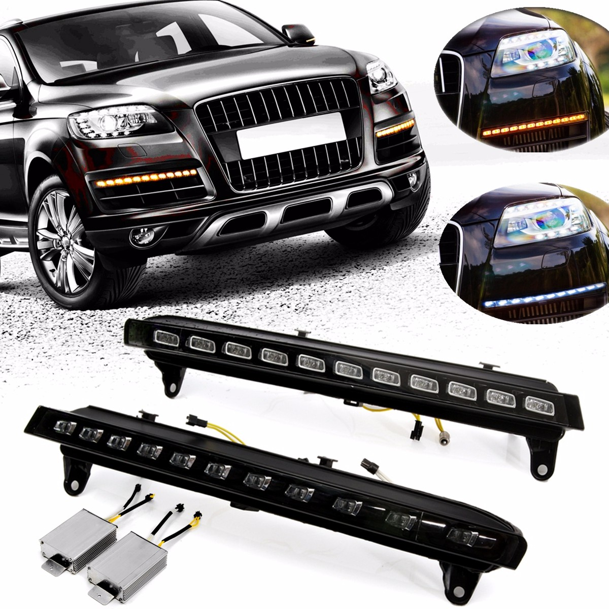 2Pcs L+R Car LED Daytime Running White DRL Fog Light W/ Amber Indicator Turn Signal Lamp for Audi Q7 2007 2008 2009