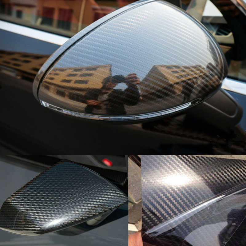 Decoración Para el coche, 200cm * 50cm, negro brillante, revestimiento para coche 5D de Película de vinilo de fibra de carbono con burbuja sin aire, pieza de coche DIY, accesorios adhesivos