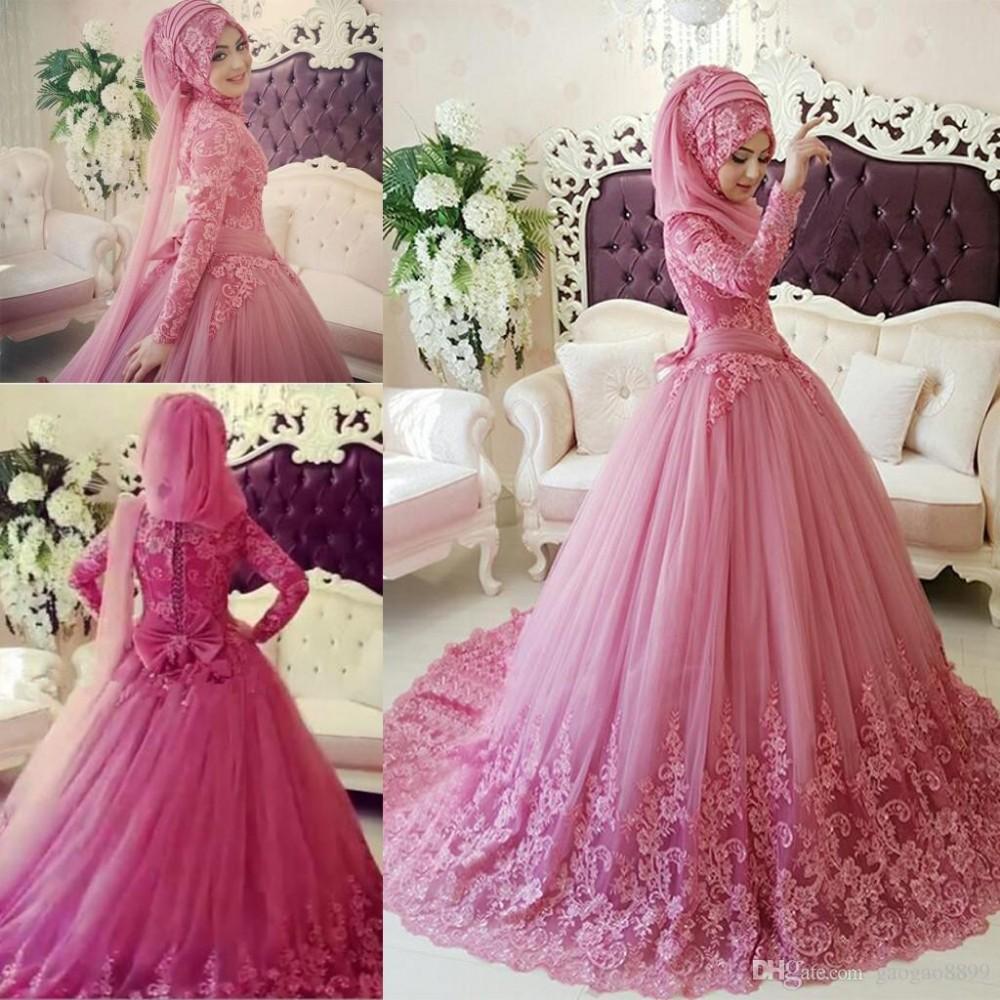 Arabic Muslim Wedding Dress 2016 Turkish Gelinlik Lace Applique Ball Gown Islamic Bridal Dresses Hijab Long Sleeve Wedding Gowns