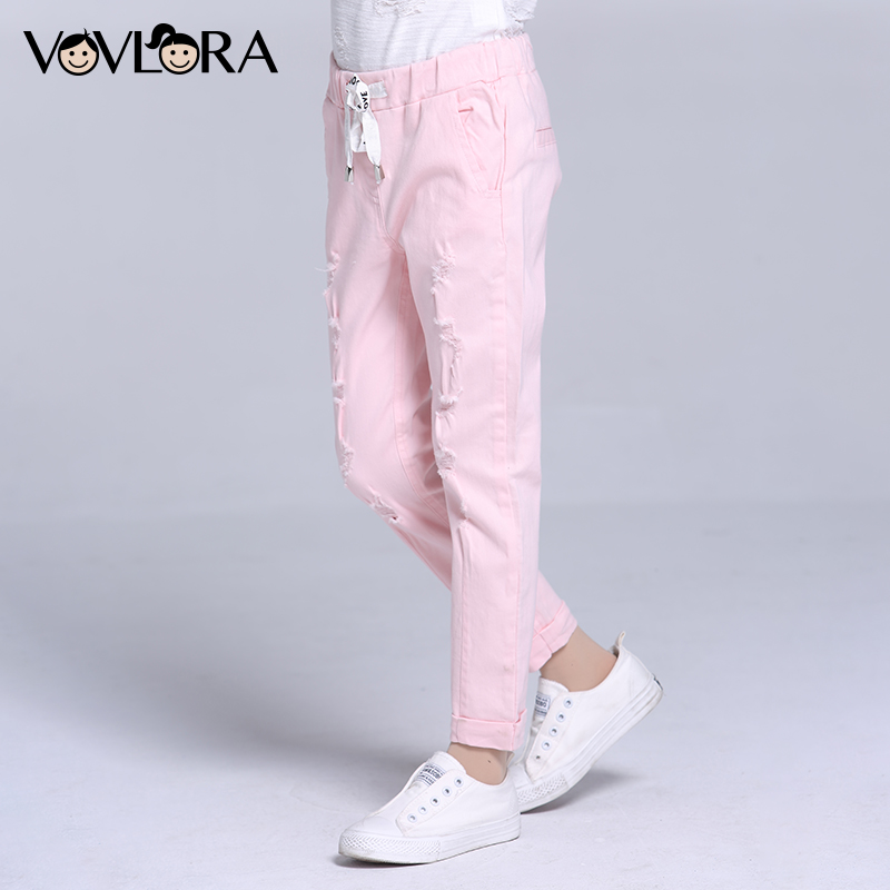 Girls Pants Ripped Pencil Kids Trousers Girls Holes Drawstring Ankle-length Children Pants Spring 2018 Size 7 8 9 10 11 12 Years summer women stretch slim pencil pants full length sexy ripped hole skinny high waist trousers plus size pantalon femme