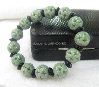 shitou 00232 FINE] 100% NATURAL A GRADE GREEN JADE /JADEITE LUCKY BEAD BRACELET