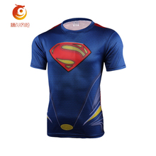 Blue Superman T Shirt 3D Printed Compression Shirt Fitness Tights Dry Short Sleeve T-Shirt Men Tee Tops Summer Casual Clothing