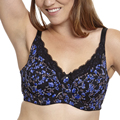 New Women Blue Floral Print Unlined Bra Plus Size C D DD DDD E F 34 36 38 40 42 46