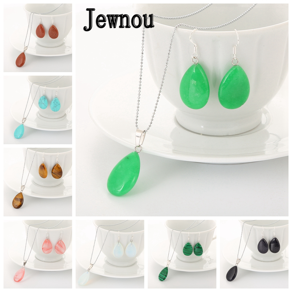 Jewnou Water Drip Jewelry Set Wedding Earing Bridal Necklace Women Crystal Accesories Natural Stone Choker Healing DIY Jewellery in Jewelry Sets from Jewelry Accessories