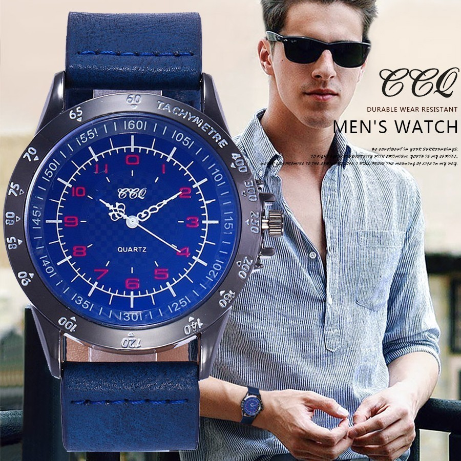 CCQ Brand Men Blue Dial Watch Quartz Clock Classic Luxury Leather Strap Men Sports Watches Relogio Armys Masculino Hot Selling new listing yazole men watch luxury brand watches quartz clock fashion leather belts watch cheap sports wristwatch relogio male