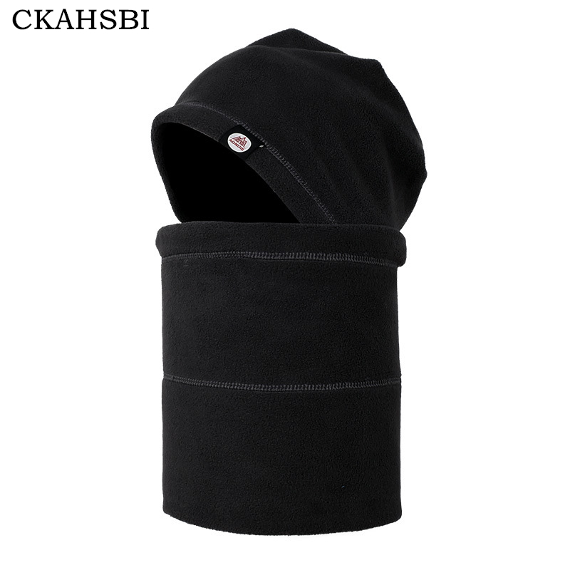 Ckahsbi Black Winter Outdoor Warm Fleece Hat Protected Face Mask Ski Snowboard Hooded Windproof Cap Cycling Riding Cs Sports