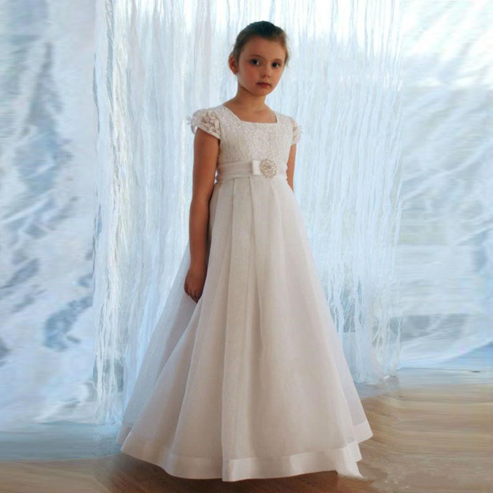 Soft Chiffon   Flower     Girl     Dress   with Belt Square Neck Custom Made Kids Prom   Dress   New Arrivals Hot Sale First Communion Gowns