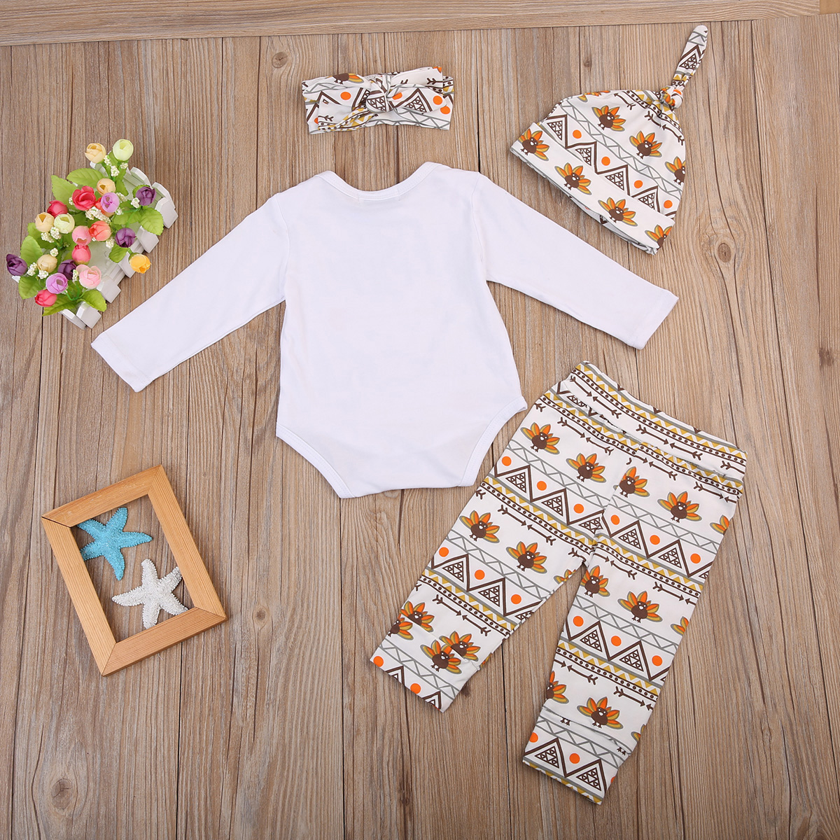 24166ea942f1 4PCS Set Baby Thanksgiving Day set Newborn Boy Girl Tops Romper+Pants  Leggings Hat Outfits Clothes-in Clothing Sets from Mother   Kids on  Aliexpress.com ...