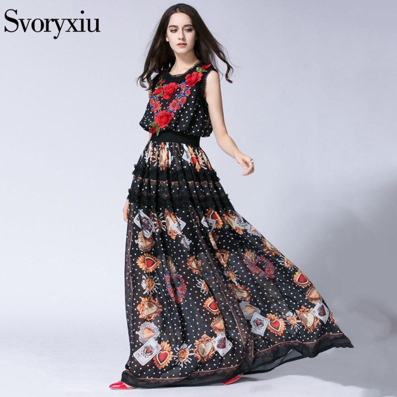 SVORYXIU Runway Designer lato długa sukienka boho kobiety wysokiej jakości bez rękawów kwiat haft piętro długość sukienka w Suknie od Odzież damska na  Grupa 2