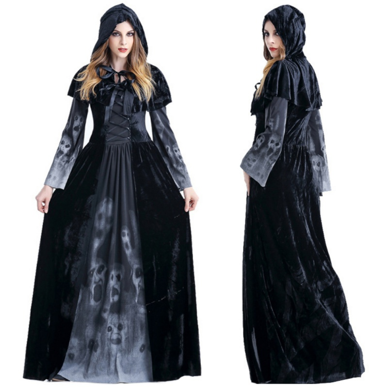 Halloween Victorian Dress Women Maxi Clothes Vampire Masquerade Fancy Costume Cosplay Ghost Witch Costumes Scary