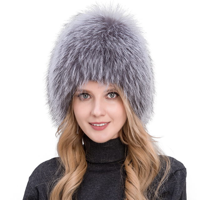 Natural Silver Fox Fur Winter Knitted Bomber Hat