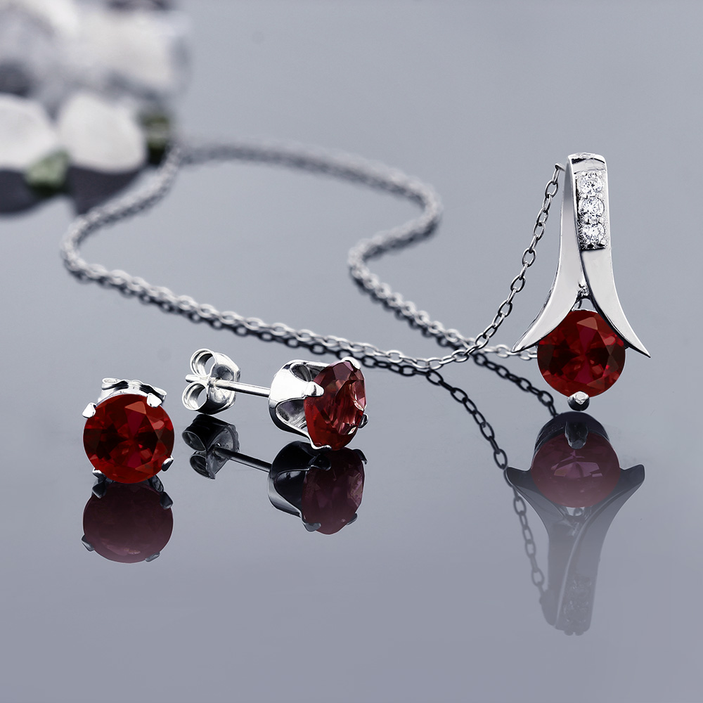 Gemstoneking 925 Sterling Silver Women S Jewelry Set Red Garnet Pendant Earrings With 18 Inch Chain 2 80 Cttw In Sets From