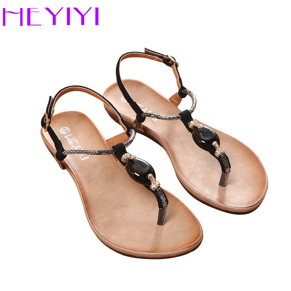 HEYIYI Flat With Women Sandals Rome Style Thong Sandals Soft Insole Summer Black Beige Fashion Comfotable Shoes Free Shipping fashion boutique beige rubber soft front insole for ladies fit any shoes
