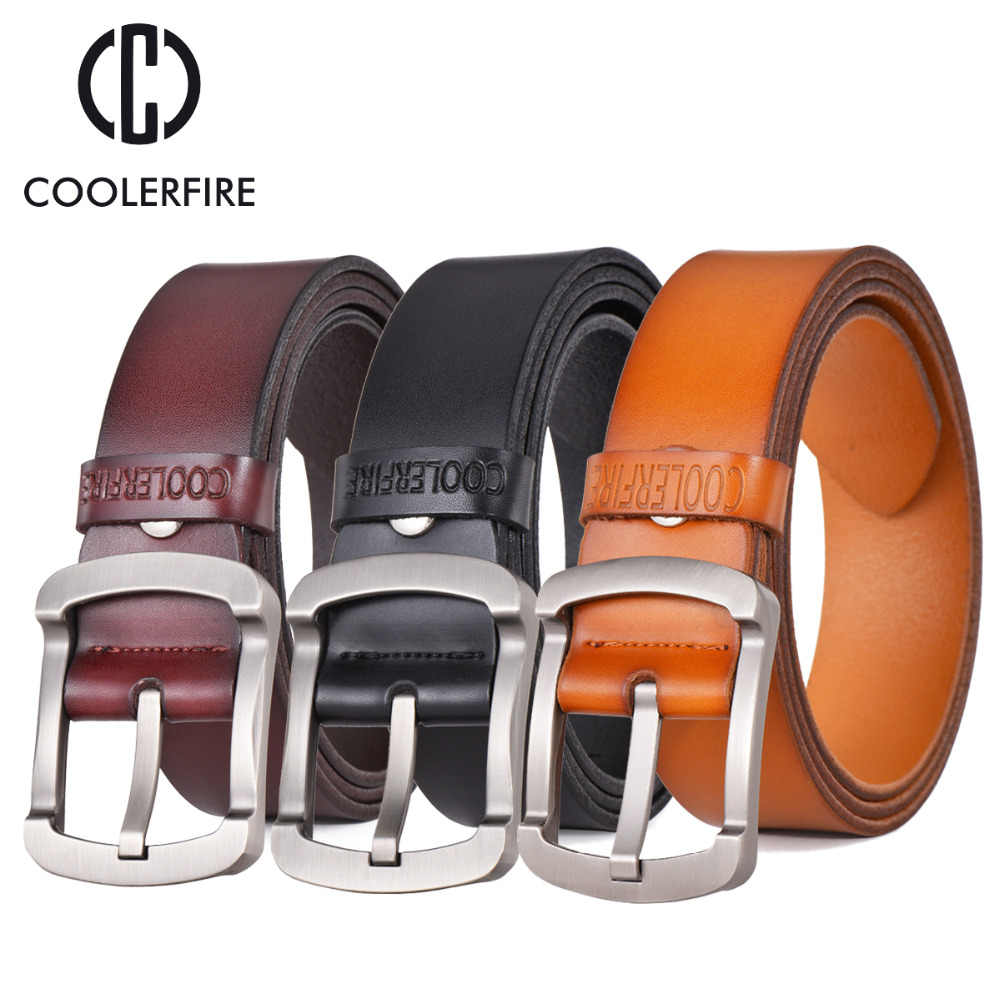 Coolerfire 2017 di modo della pelle bovina del cuoio genuino degli uomini della cinghia dei jeans neri cinghie degli uomini della cinghia maschio della cinghia dell'annata casuale HQ024