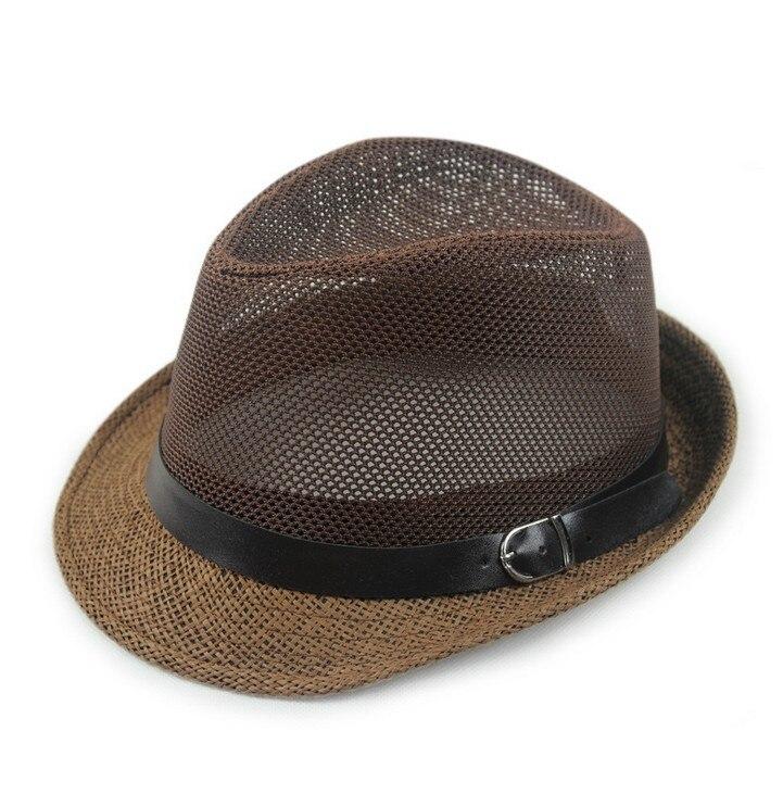 Kagenmo дышащая сетка ремень пряжка летняя соломенная мужская шляпа Корейская пляжная соломенная шляпа женская шляпа солнцезащитный козырек крутая 6 цветов 1 шт - Цвет: F