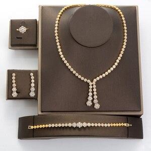 Image 3 - Hadiyana פשוט עגול נשים תכשיטי סט עם מעוקב Zincons שרשרת עגילי צמיד טבעת 4pcs שושבינה חתונה סטי TZ8032
