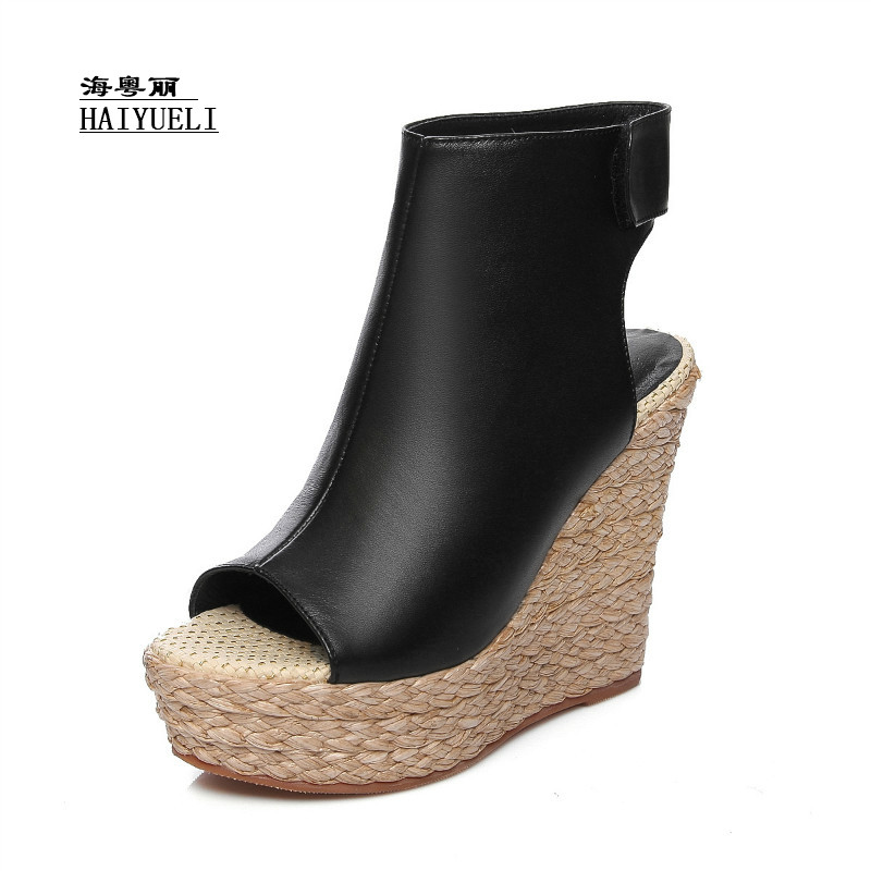 Top Product Women Shoes Genuine Leather Pure Handmade Straw Wedge Sandals Fish Head High Heels Platform Shoes Top Product Women Shoes Genuine Leather Pure Handmade Straw Wedge Sandals Fish Head High Heels Platform Shoes