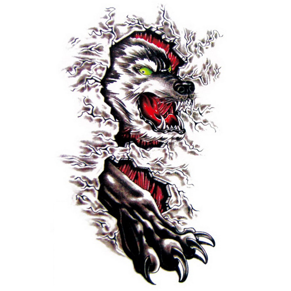 Yeeech Temporary Tattoos Sticker for Men Cool Wolf Hot Designs Waterproof for Arm Leg Body Art Makeup Fake Transfer Scar Decals
