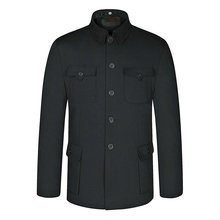 Personality Spring Chinese Ethnic Mens Black Mao Suit Jacket