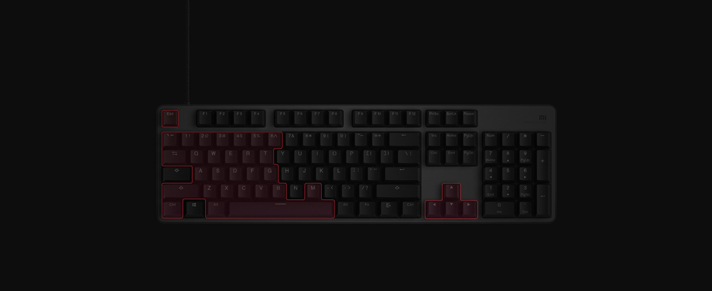 Original Xiaomi Mi Gaming Keyboard 104 Keys Key Without Punch LED Backlit Backlight USB Wired Aluminum alloy For Overwatch Dota2 (6)