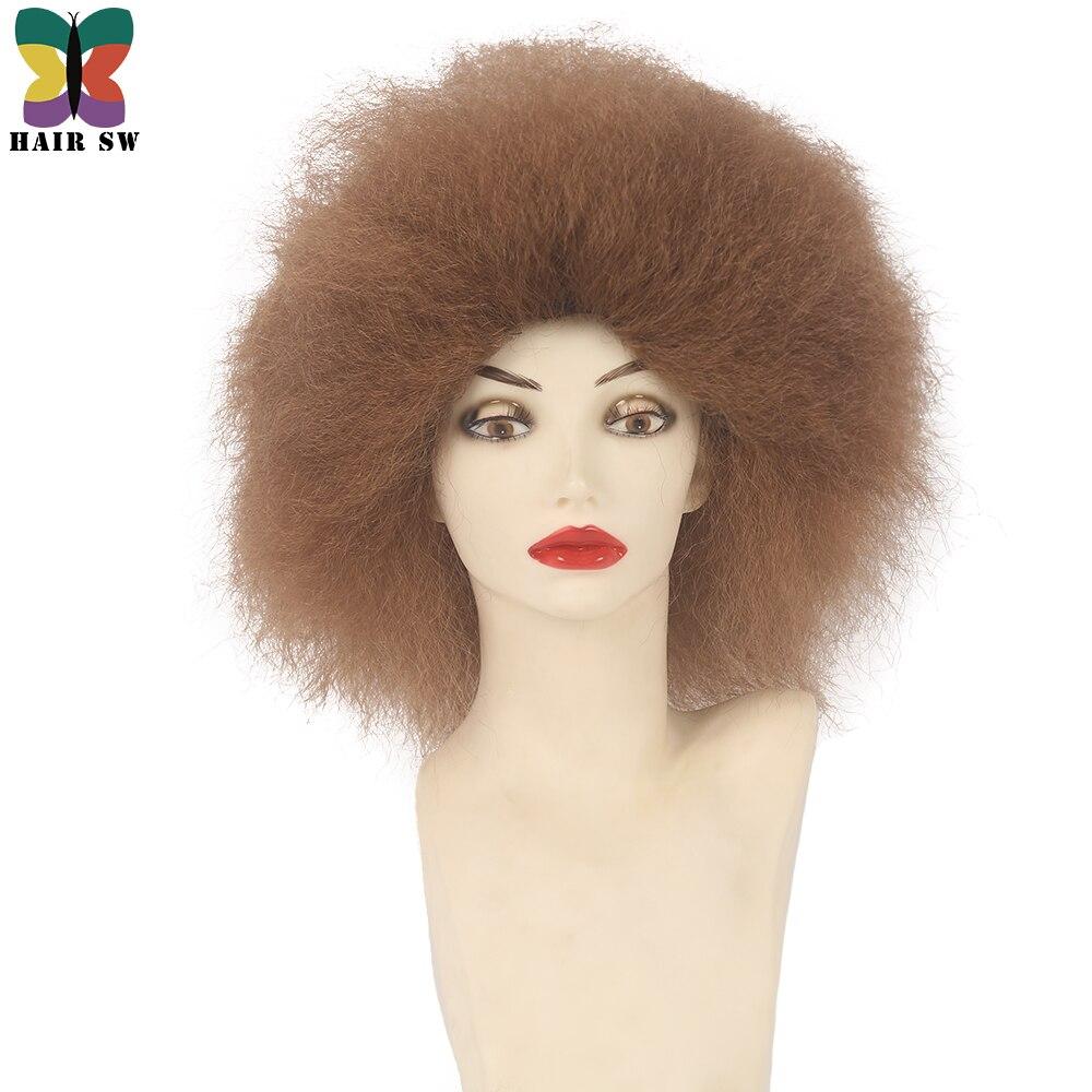 HAIRSW странный прямо Kanekalon синтетический парик плотность 150% короткие парики 9 Цвета ошибки чёрный; коричневый афро парик жаропрочных для Для ж...