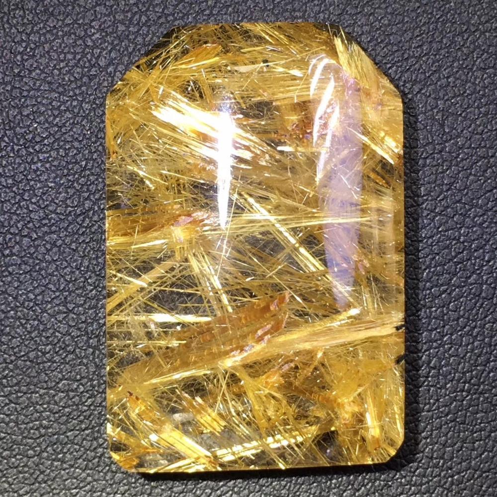 Certificate Natural Gold Rutilated Quartz Titanium Pendant Rectangle Gemstone AAAAA Gift 34x23x8mm Crystal Stone