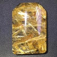 Certificate Natural Gold Rutilated Quartz Titanium Pendant Rectangle Gemstone AAAAA Gift 34x23x8mm Crystal Stone