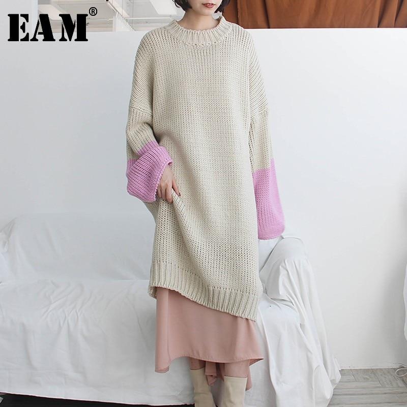 [EAM] 2019 New Autumn Winter V-Neck Long Sleeve Black Loose Think Loose Big Size Knitting Sweater Women Fashion Tide QE1550