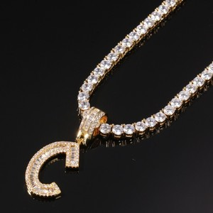 Image 3 - THE BLING KING English Initials Baguette Letters Necklace Pendant Wirh 4mm Cubic Zirconia Tennis Chains Fashion Hiphop Jewelry
