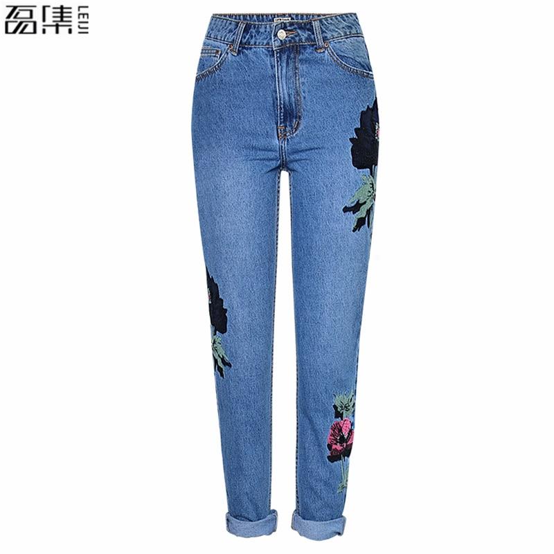 autumn Embroidered Jeans Women  3D Rose Embroidered blue Straight   Plus Size Boyfriend Woman Denim pants