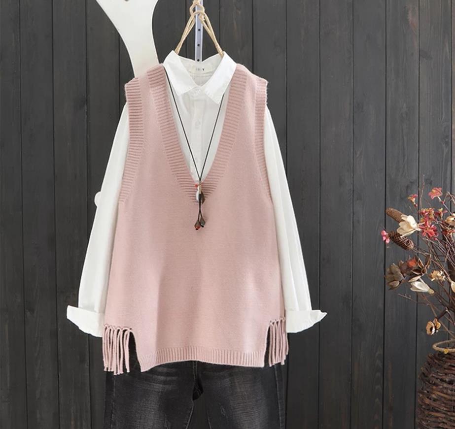 Spring Autumn New Style V-neck Solid Color Sweater Vest Vest Women Loose Turtleneck Hem Fringe Canvas Top  15209