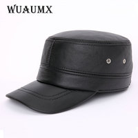Cow Leather Baseball Caps For Men Winter Warm Earflap Genuine Leather Cowskin Hat Cowhide Ceiling Earmuffs