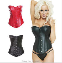 high quality corset lady slimming Strapless Corselet Black Red Lace up Back Corset Faux Leather Overbust Bustier Top Shaper S-3XL