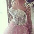 Vestido de Baile Princesa Frisada de Cristal Rhinestone Prom Vestidos Longos Mangas Do Pescoço Da Colher Vestidos de festa Para As Mulheres