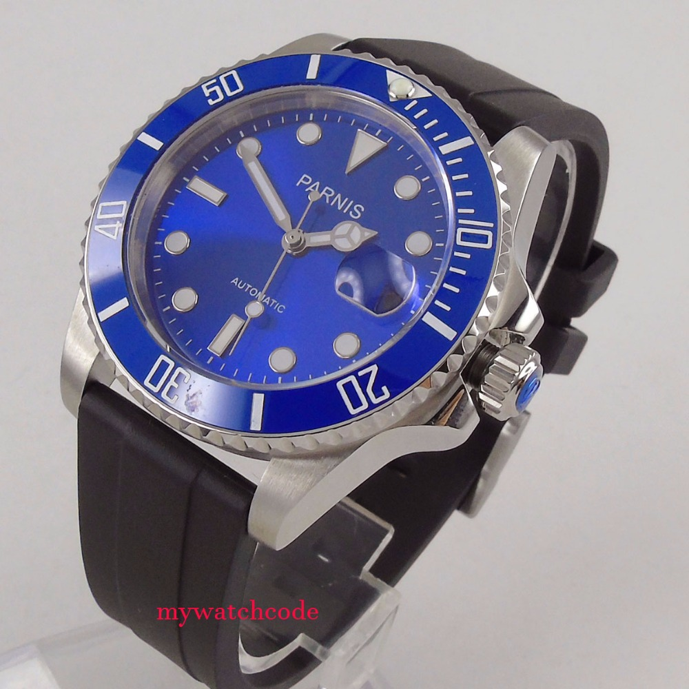 40mm Parnis blue dial date window ceramic bezel Miyota automatic mens watch P65340mm Parnis blue dial date window ceramic bezel Miyota automatic mens watch P653
