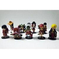 9pcs Set One Piece Anime Figures Ace Luffy Zoro Joe Red Section PVC Model Toy Japanese