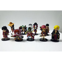 9pcs Set One Piece Anime Figures Ace Luffy Zoro Joe Red Section PVC Model Toy Japanese
