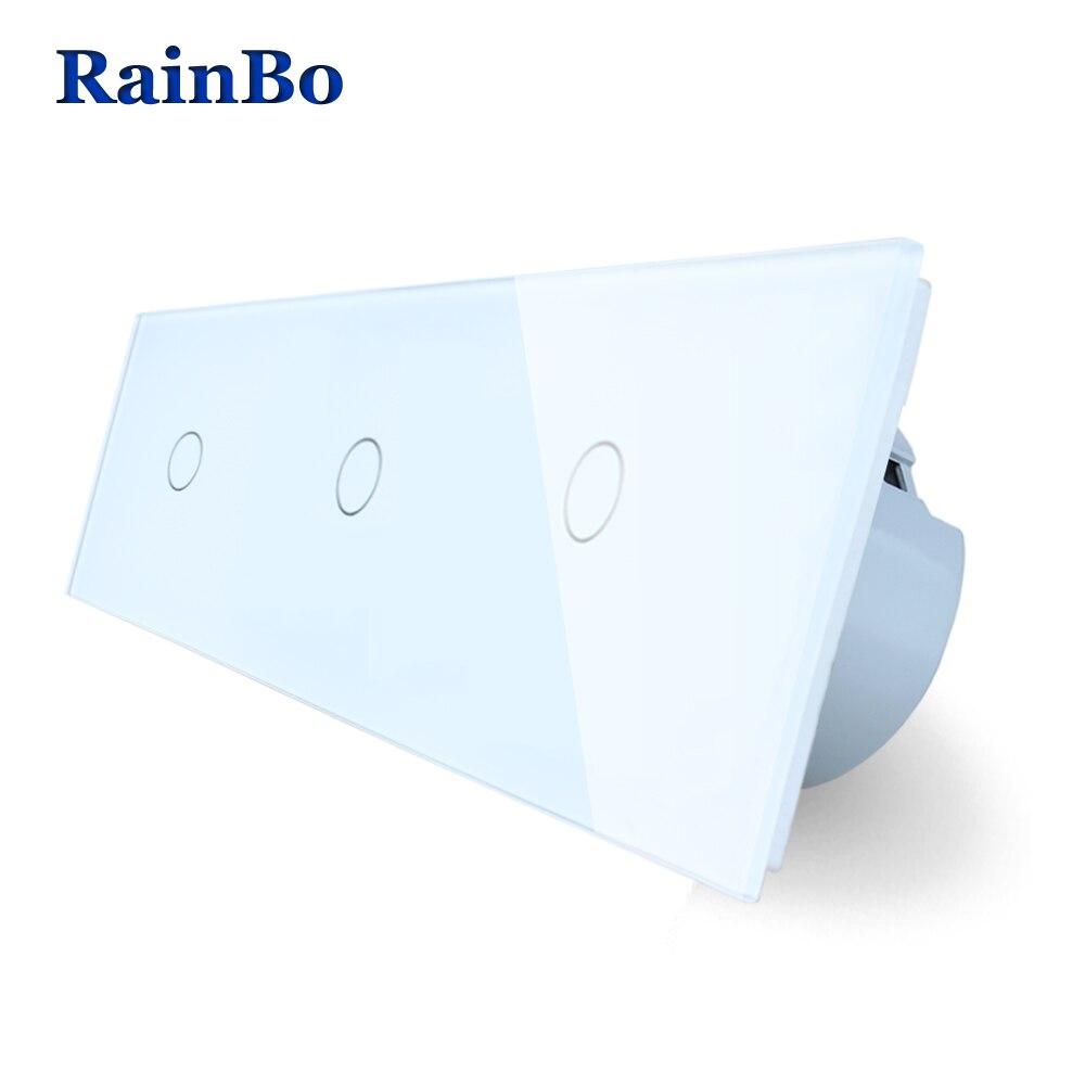 RainBo Marque 3 Cadre Cristal Interrupteur Du Panneau De Verre Interrupteur Mural UE Interrupteur Tactile Mur Interrupteur 1gang1way 110 ~ 250 v A39111111CW/B