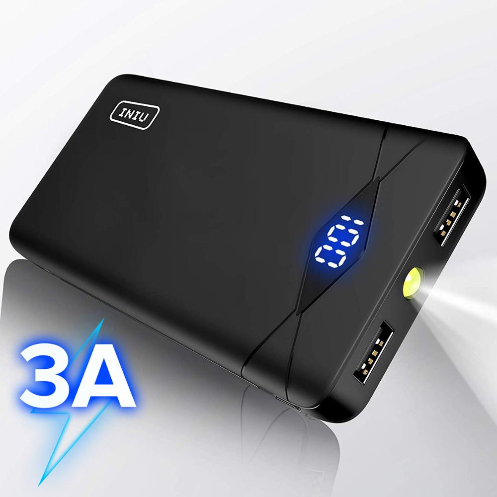 INIU 3A 10000mAh LED Power Bank Dual USB Portable Charger Powerbank For iPhone Xiaomi Mi Phone External Battery Pack Poverbank(China)