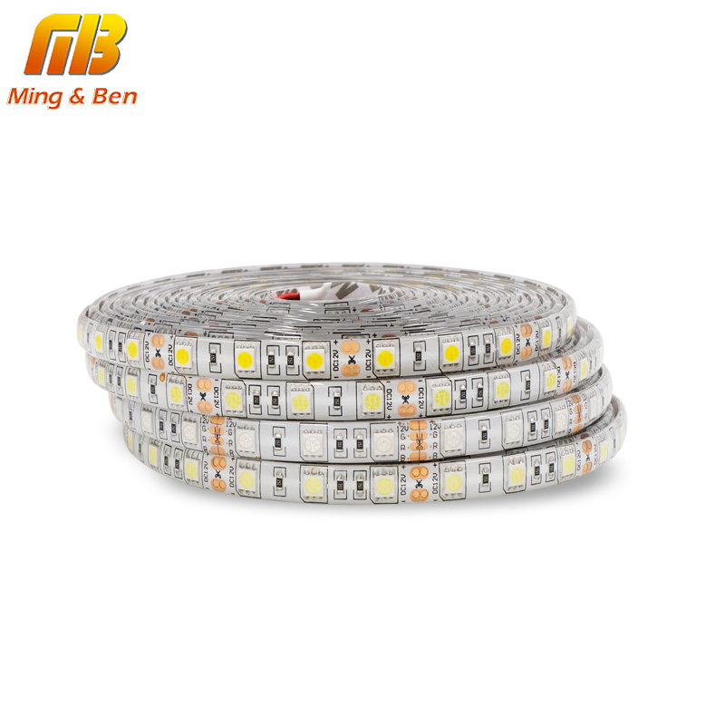 [MingBen] 5M LED Strip SMD5050 Flexibel Ljus 60 LED / m 12V DC IP65 IP20 Lim Tape Vit Varm Vit Kallvit RGB LED Strip