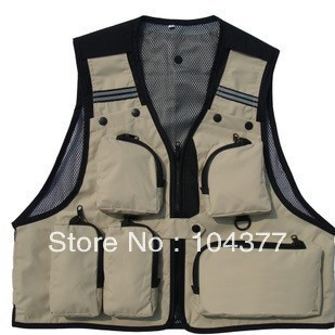 Free shipping Top quality !Multi-functional waistcoat fishing vest pocket sun protection clothing director vest  Photography