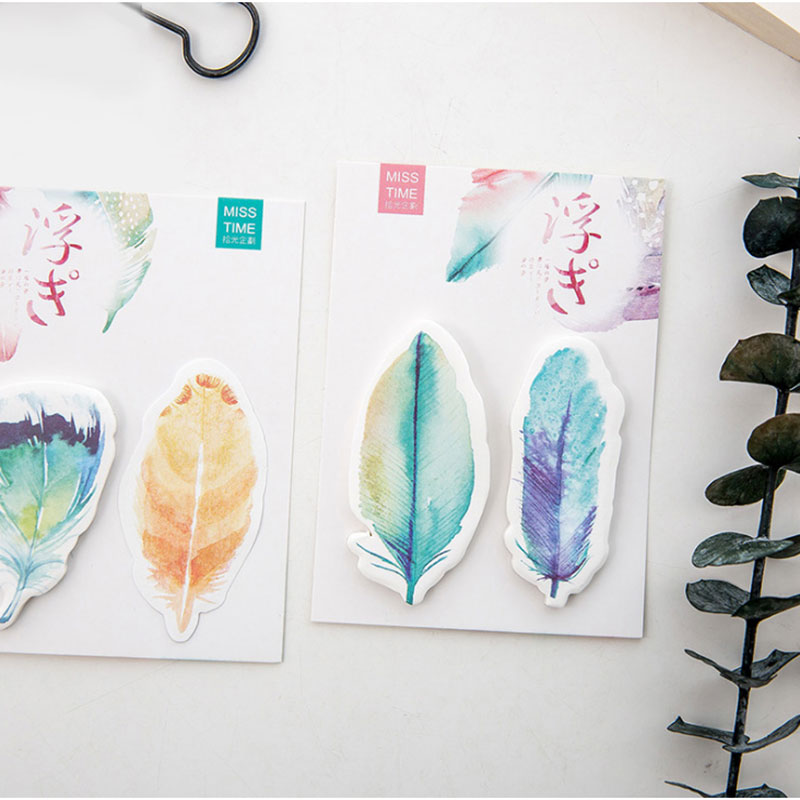 1X DIY feather Sticky Notes Lovely expression Kawaii Memo Pads Sticker Post Bookmark Marker Flags Sticker Planner Brie in Memo Pads from Office School Supplies