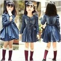 2015 new style girl spring clothing baby fashion long sleeve cowboy dress /dust coat A0669