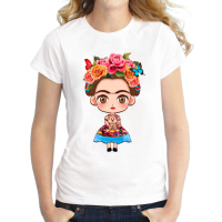 2016 Hot Sale Cartoon Mexican Frida Kahlo T Shirt Short Sleeve Women T Shirt Novelty Tee