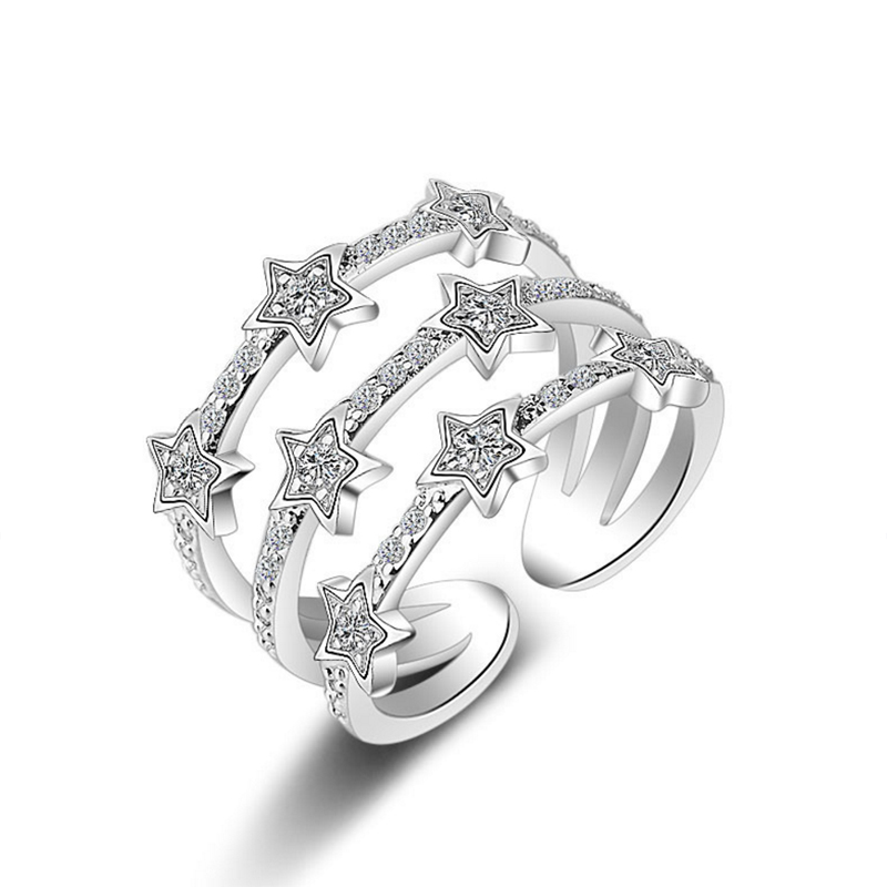 ᑐRing For Women Stars Adjustable ᐃ Size Size Openings