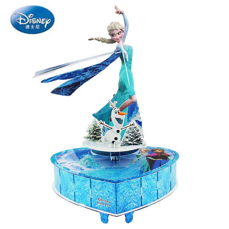 Disney Puzzles Games Frozen Rotating Music Box Girl Birthday Gift DIY Music Box Child 3D Puzzle Toys For Children