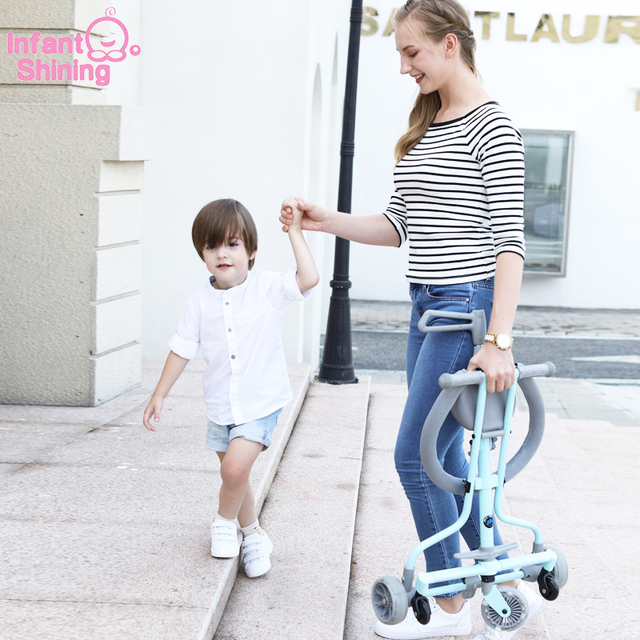 Infant Shining Baby Stroller Ride on Bike ultra-lightweight folding 3-5Y Children Trolley  High Landscape Umbrella Baby Trolley