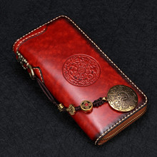 2016 Cow Leather Delicate Pendant Wallets Embossing Bag Purses Women Men Long Clutch Vegetable Tanned Leather Wallet Card Holder