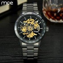 MCE Люксовый Бренд часы Мужчины Автоматические Self-Wind Механические Часы Парни Весь Из Нержавеющей Стали Скелет Наручные Часы Relogio Masculino