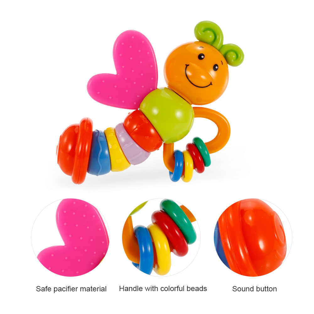 Baby Rattles toy Intelligence Grasping Gums Plastic Hand Bell Rattle Funny Educational Mobiles Toys Birthday GiftsRP60